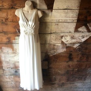 Bill Levkoff Size 8 White Gown with Floral Belt